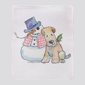 Soft Coated Wheaten Terrier and Snow Throw Blanket