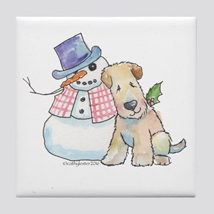 Soft Coated Wheaten Terrier and Snowm Tile Coaster