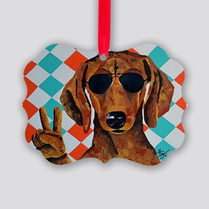 Dachshund Peace Sign Ornament