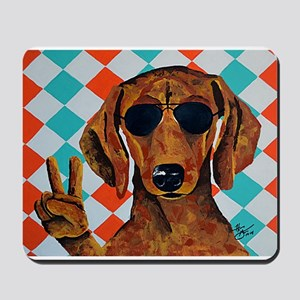Dachshund Peace Sign Mousepad