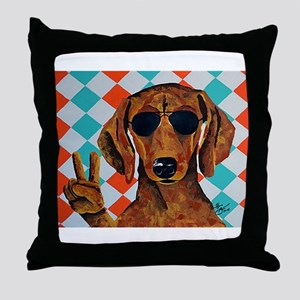 Dachshund Peace Sign Throw Pillow