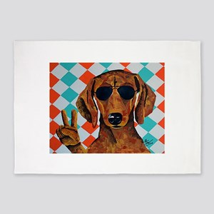 Dachshund Peace Sign 5'x7'Area Rug