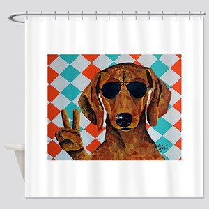 Dachshund Peace Sign Shower Curtain