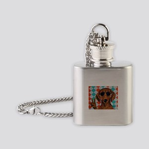 Dachshund Peace Sign Flask Necklace