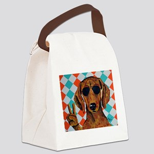 Dachshund Peace Sign Canvas Lunch Bag