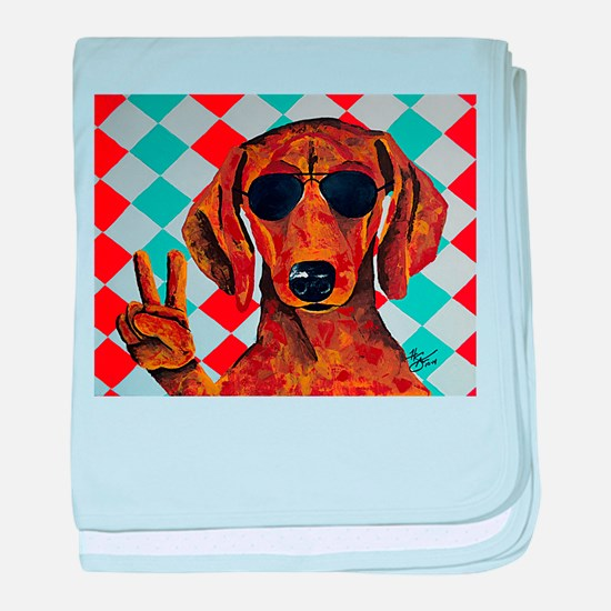 Dachshund Peace Sign baby blanket