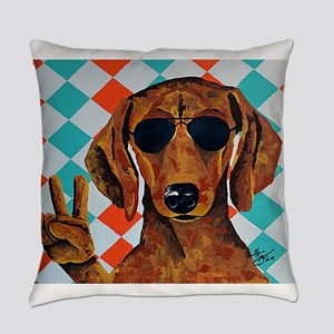 Dachshund Peace Sign Everyday Pillow