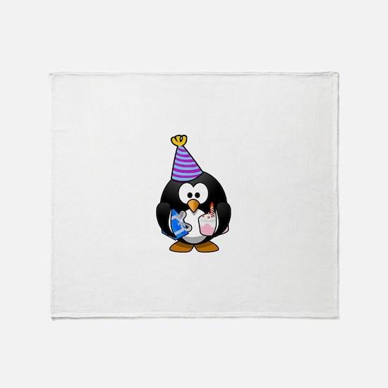 Happy Birthday Penguin Throw Blanket