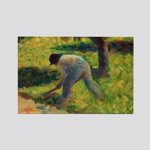 Peasant with a Hoe by Georges Seurat Magnets