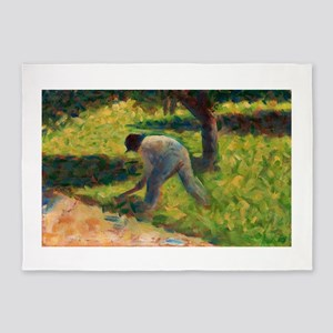 Peasant with a Hoe by Georges Seurat 5'x7'Area Rug