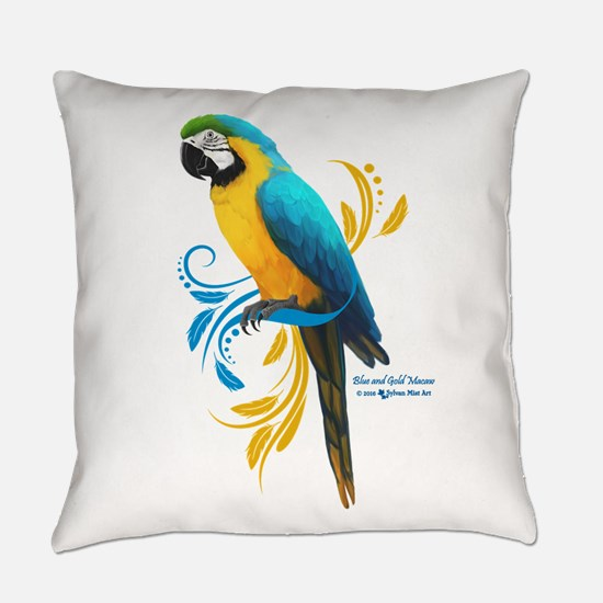Blue and Gold Macaw Everyday Pillow
