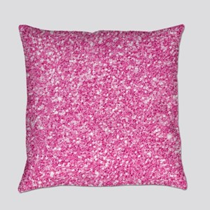 Pink Glitter Print Everyday Pillow