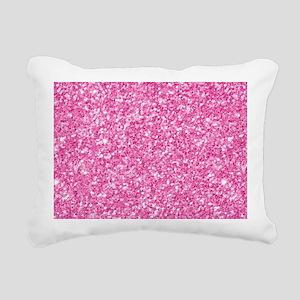 Pink Glitter Print Rectangular Canvas Pillow