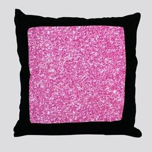 Pink Glitter Print Throw Pillow