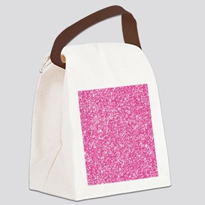 Pink Glitter Print Canvas Lunch Bag