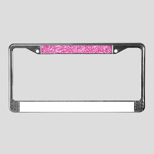 Pink Glitter Print License Plate Frame