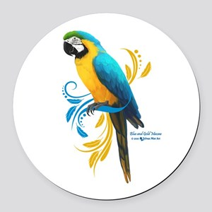 Blue and Gold Macaw Round Car Magnet