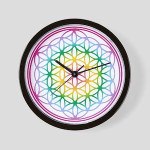 Flower of Life - Rainbow Wall Clock