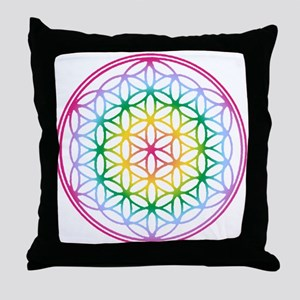 Flower of Life - Rainbow Throw Pillow
