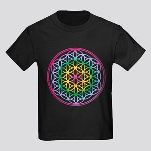 Flower of Life - Rainbow Kids Dark T-Shirt