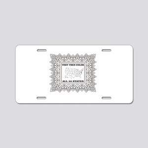 visit then color the 50 sta Aluminum License Plate