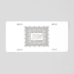 visit then color the 50 sta Aluminum License Plate