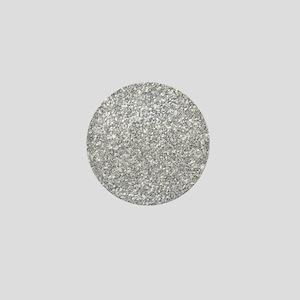 Silver Gray Glitter Texture Mini Button