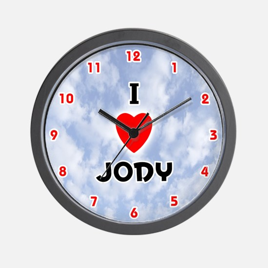 I Love Jody (Red/Blk) Valentine Wall Clock