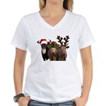 Santa & Friends Women's V-Neck T-Shirt