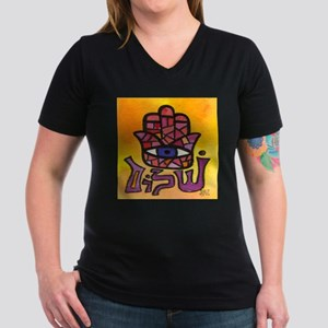 Purple Shalom Hamsa Ash Grey T-Shirt