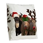 Santa & Friends Burlap Throw Pillow
