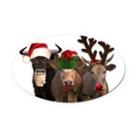 Santa & Friends Oval Car Magnet