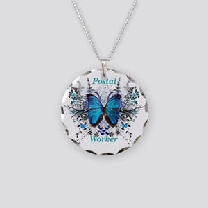 Postal Worker Butterfly Necklace Circle Charm