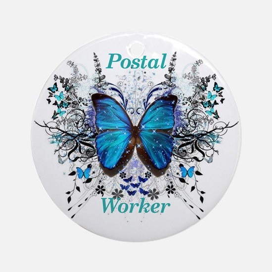 Postal Worker Butterfly Round Ornament