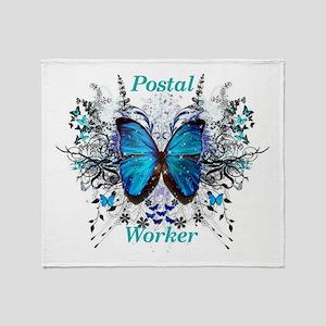 Postal Worker Butterfly Throw Blanket
