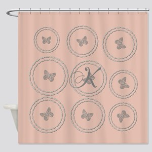 Pink Rose Gold Silver Butterfly Shower Curtain