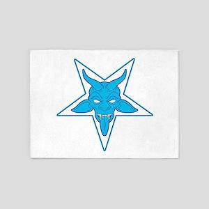 devil pentangle blue 5'x7'Area Rug