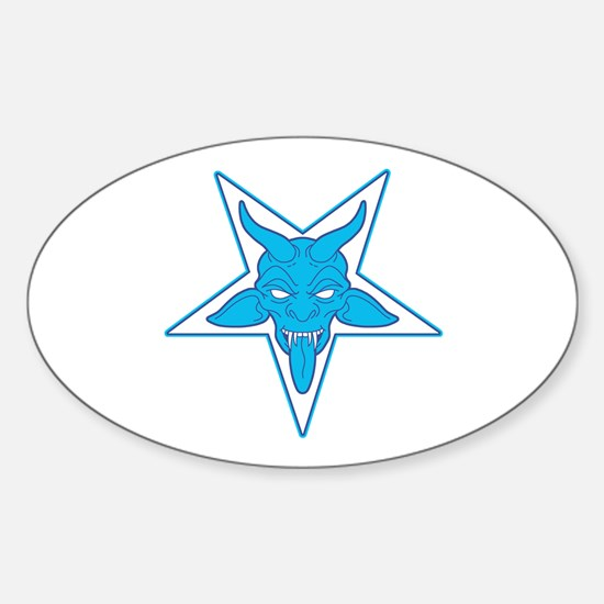 devil pentangle blue Sticker (Oval)