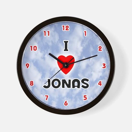 I Love Jonas (Red/Blk) Valentine Wall Clock