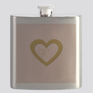 Pink Rose Gold Heart Add Text Flask