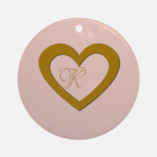 Pink Rose Gold Heart Add Text Round Ornament