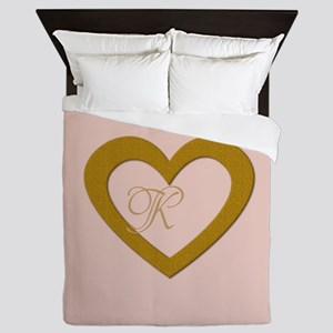 Pink Rose Gold Heart Add Text Queen Duvet