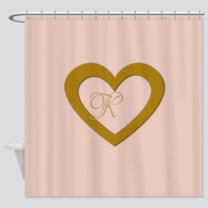 Pink Rose Gold Heart Add Text Shower Curtain