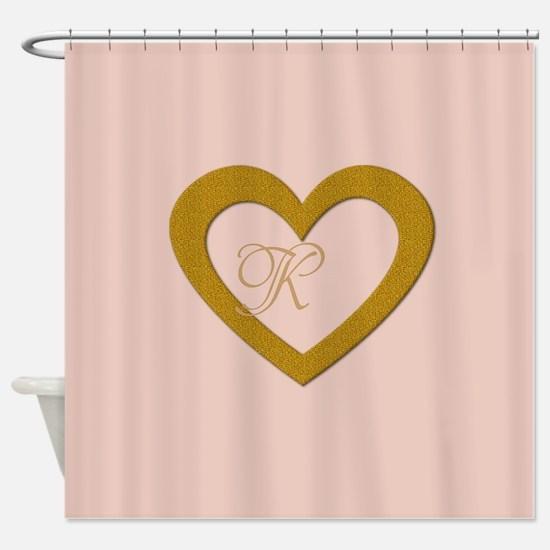 Pink Rose Gold Heart Add Text Shower Curtain