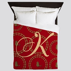Cute Gold Bird Red Queen Duvet