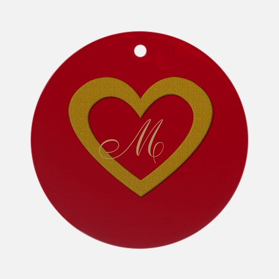 Cute Gold Red Sweet Heart Round Ornament
