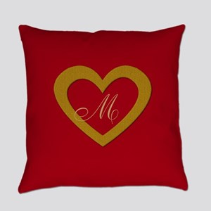 Cute Gold Red Sweet Heart Everyday Pillow