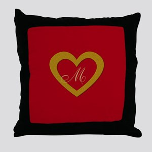 Cute Gold Red Sweet Heart Throw Pillow