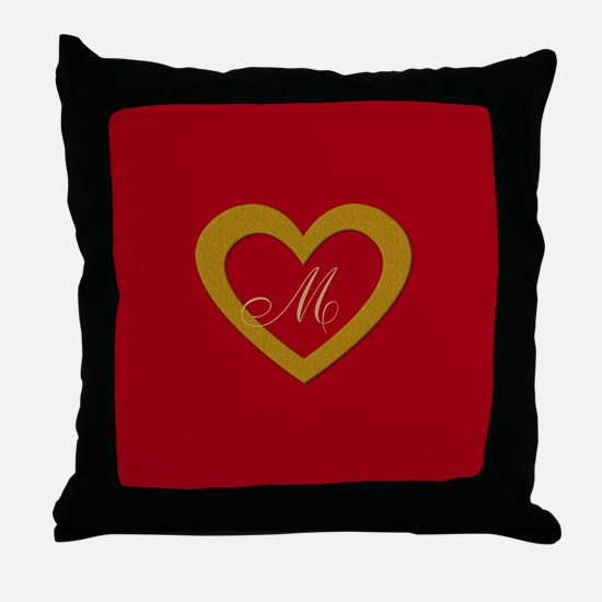 Cute Gold Red Sweet Heart Throw Pillow