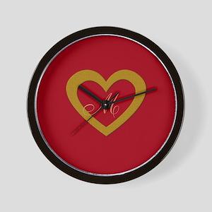 Cute Gold Red Sweet Heart Wall Clock